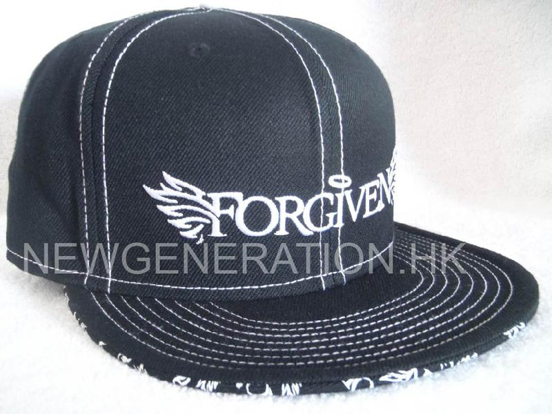 Acrylic Fitted Cap With Flat Embroidery And Custom Print On Undervisor