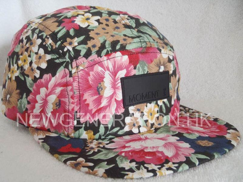 Floral 5 panel Cap With Leather Deboss Patch