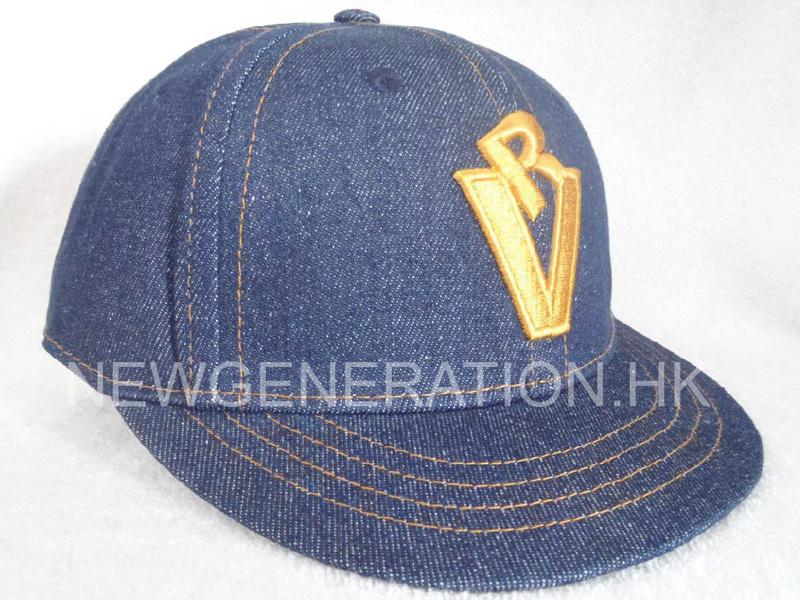Denim Cotton Fitted Cap With Short Visor