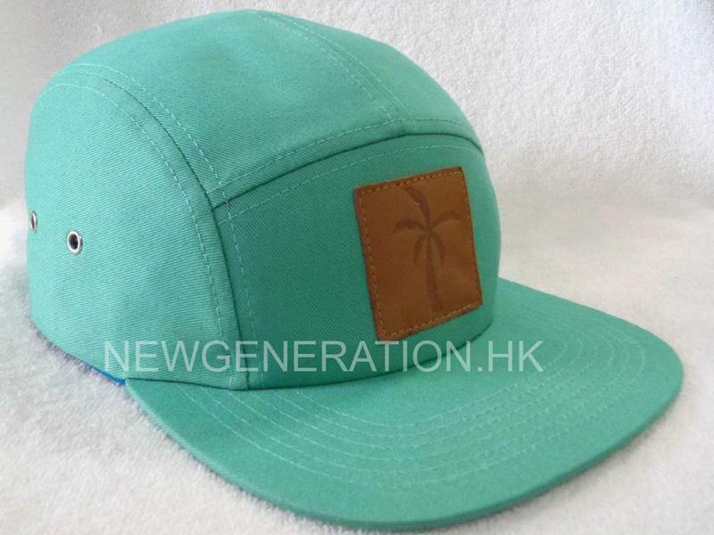 Cotton 5 panel Camp Cap With Leather Deboss Patch