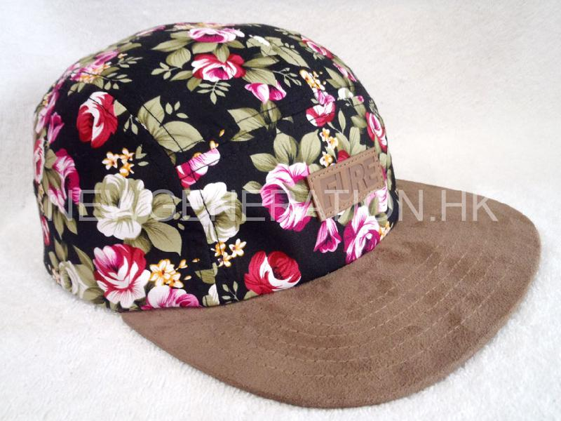 Floral 5panel Camp Cap With Deboss Leather Patch1