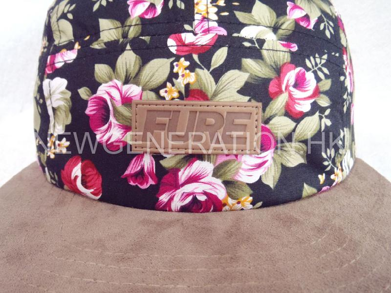Floral 5panel Camp Cap With Deboss Leather Patch3
