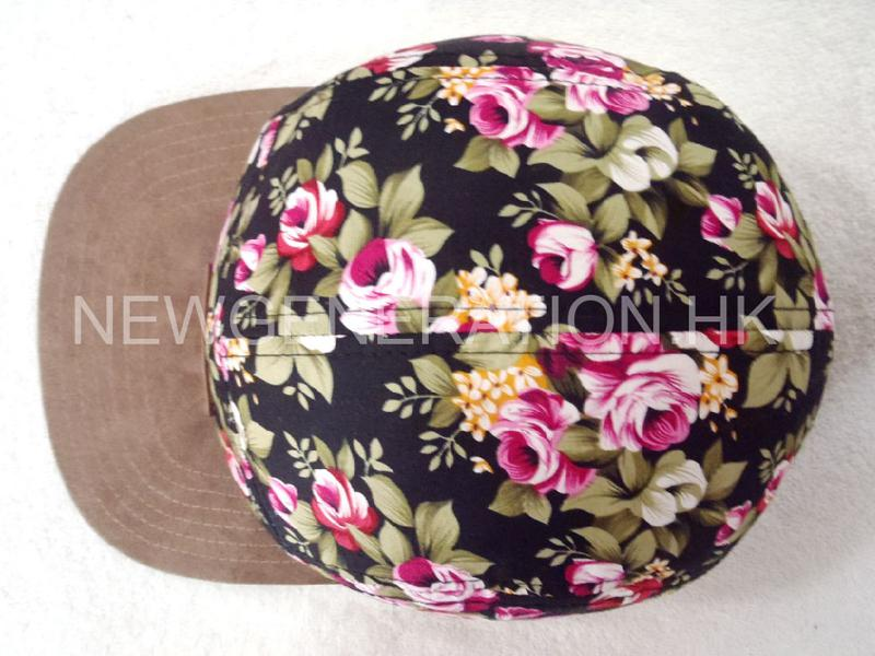 Floral 5panel Camp Cap With Deboss Leather Patch4