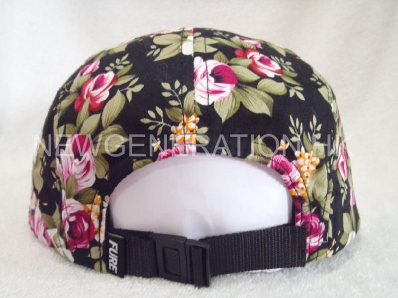 Floral 5panel Camp Cap With Deboss Leather Patch5