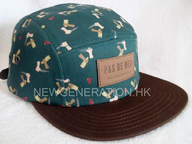 Rubber Print 5 panel Camp Cap With Deboss Leather Patch