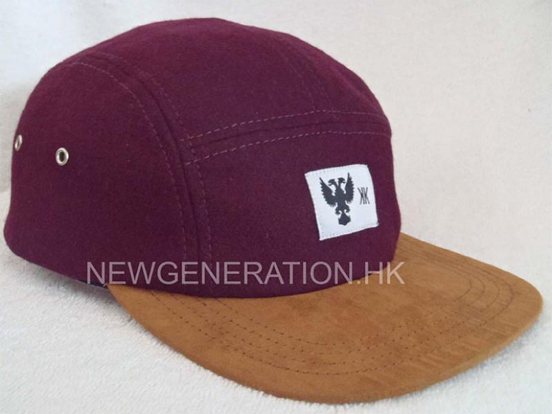 Hair Wool 5 Panel Camp Cap With Woven Label and Suede Peak