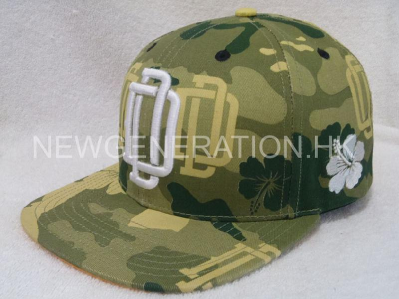 Print Camo Pattern Snapback Cap With Raised Emb2