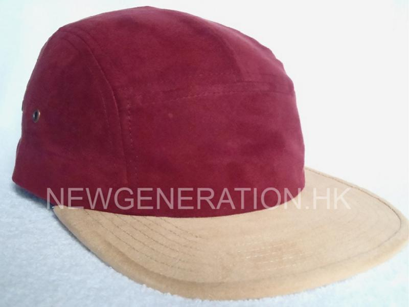 Suede 5 panel Camp Cap with Leather Strap and Metal buckle