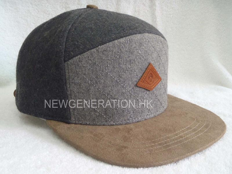 Wool Blend 5 Panel High Profil Strapback Cap With Debossed Leather Patch