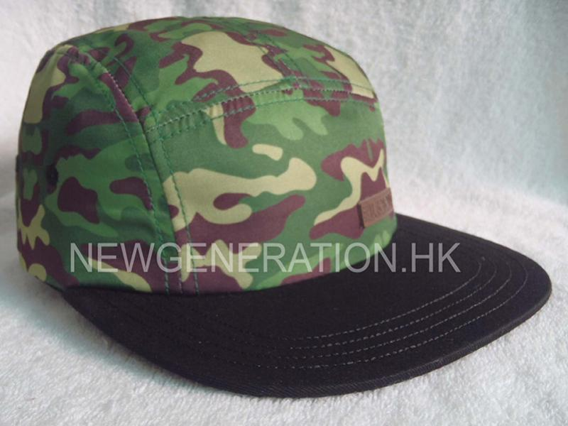 Microfiber 5 Panel Camp with Camo Sublimation Print and deobossed Leather Patch