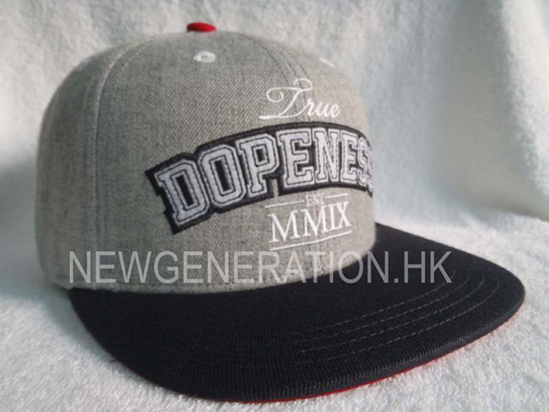 Wool Blend Snapback Cap with Chenille Embroidery
