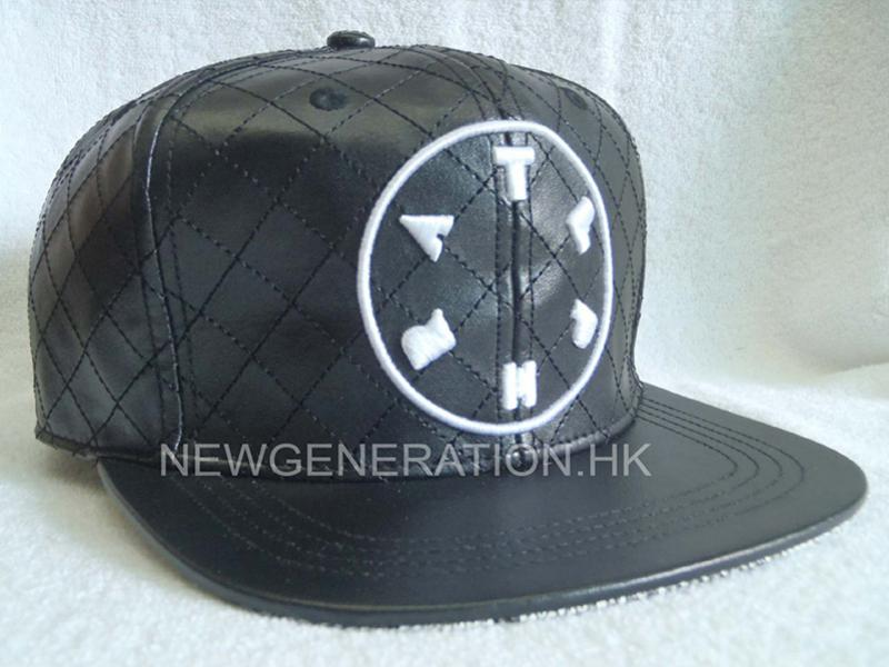 PU Leather Strapback Cap with Embroidery and Allover Stitching