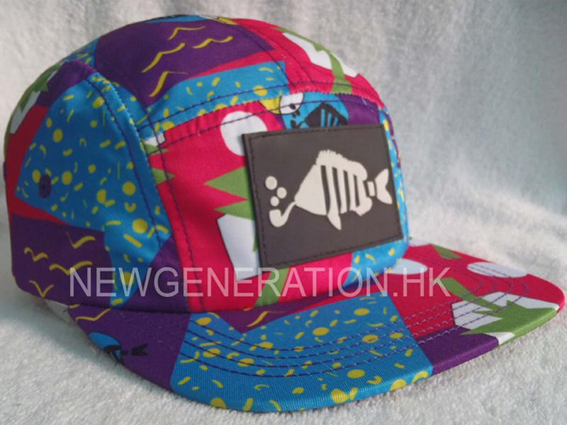 Allover print Thin Polyester 5 Panel Camp Cap With Rubber Patch