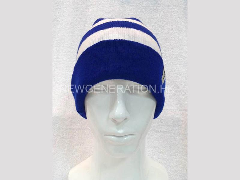 Custom Beanie Hat with Stripe Pattern and Custom Label