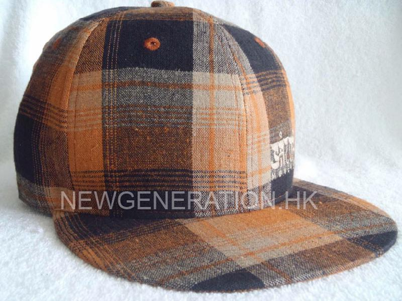Checker Cotton Snapback Cap With Flat Embroidery1