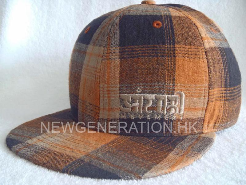 Checker Cotton Snapback Cap With Flat Embroidery2