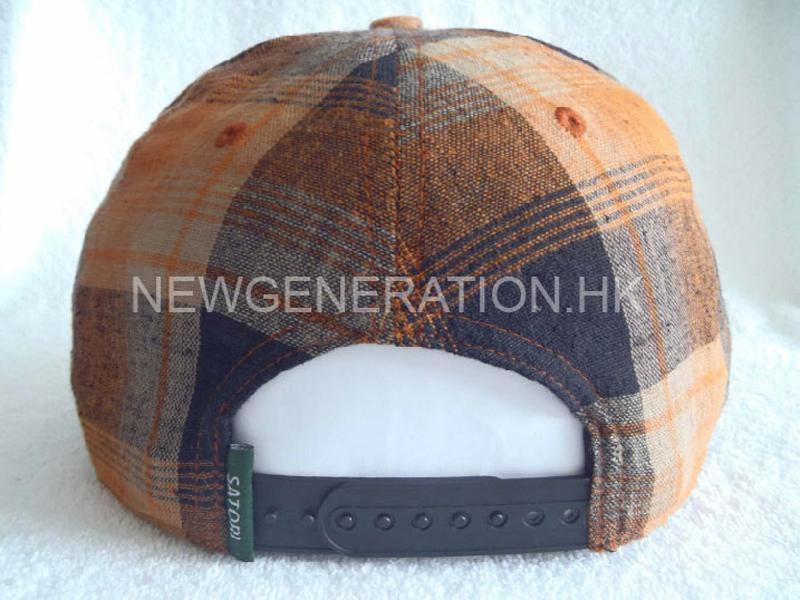 Checker Cotton Snapback Cap With Flat Embroidery4