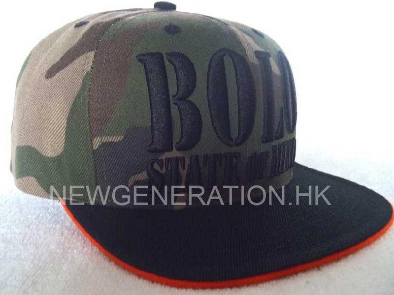 Camo Fabric Snap Back Cap with Raised Embroidery