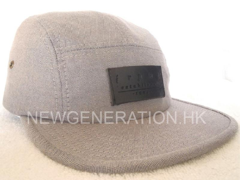 5 panel Cap With Leather Patch